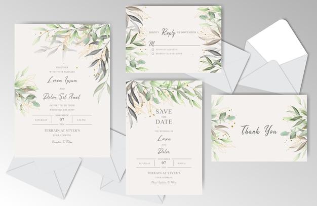 Convite bonito do casamento da aguarela estacionário com folhas elegantes