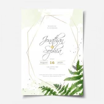 Convite bonito do casamento da folha da samambaia da aguarela