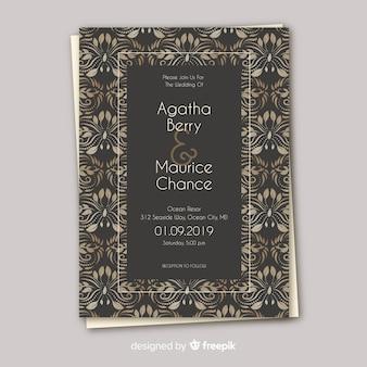 Convite bonito do casamento do damasco