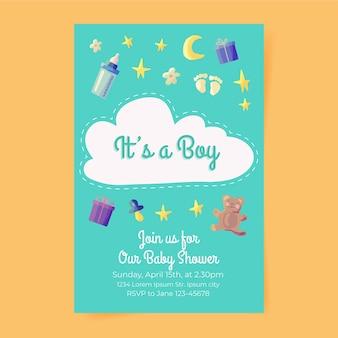 Convite bonito do chuveiro de bebê do menino