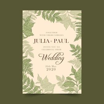 Convite botânico do casamento do vintage