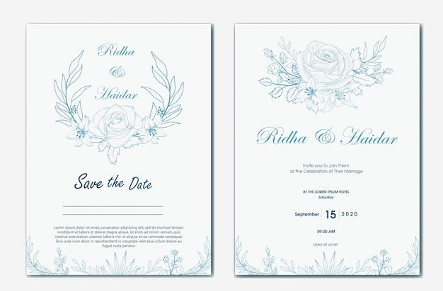 Convite botânico tirado mão do casamento