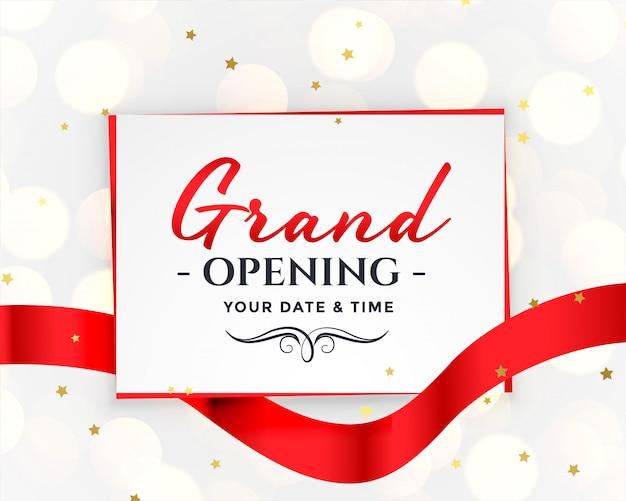 Convite branco de inauguração