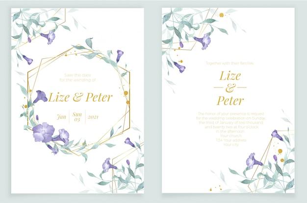 Convite cartão modelo aquarela elementos botânicos moldura dourada flores e folhas