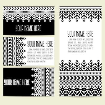 Convite, cartões com elementos decorativos étnicos