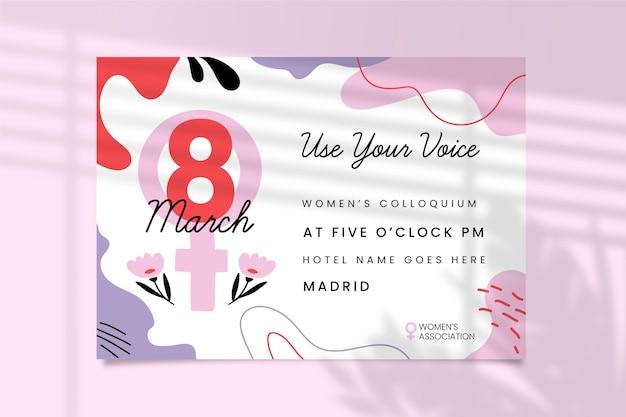 Convite colorido abstrato do dia da mulher