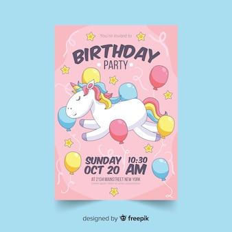 Convite colorido de festa de aniversário