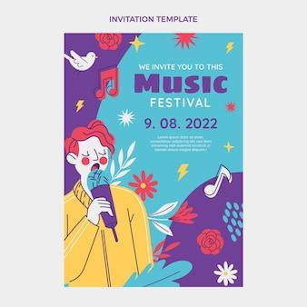 Convite colorido desenhado à mão para o festival de música