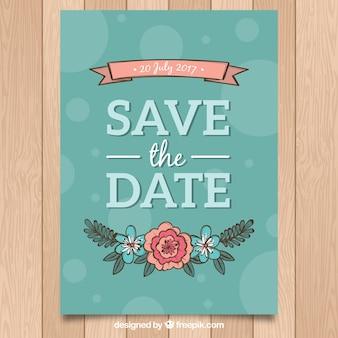 Convite colorido do casamento com estilo floral