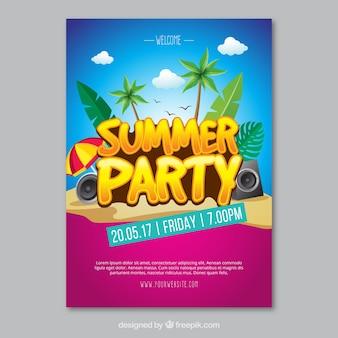 Convite colorido do partido do verão