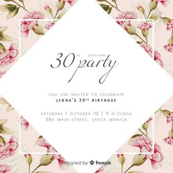 Convite colorido feliz aniversário