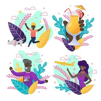 Convite com conjunto de verão. povos afro-americanos dos desenhos animados em cartões