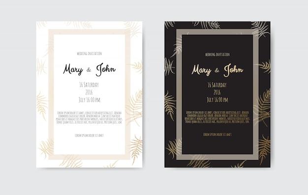 Convite com elementos florais de ouro. cartões de convite de casamento com elementos florais
