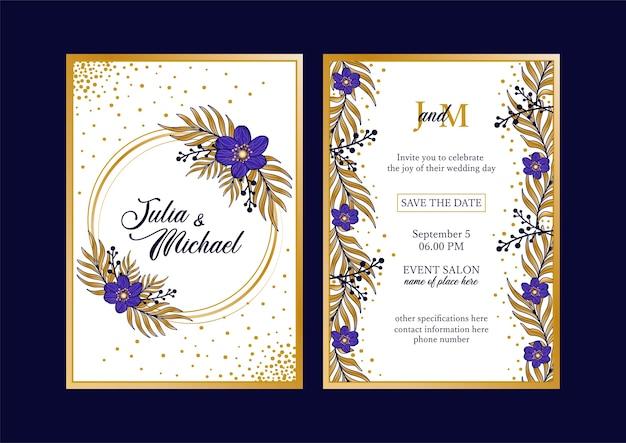 Convite com flores azuis e douradas para casamento