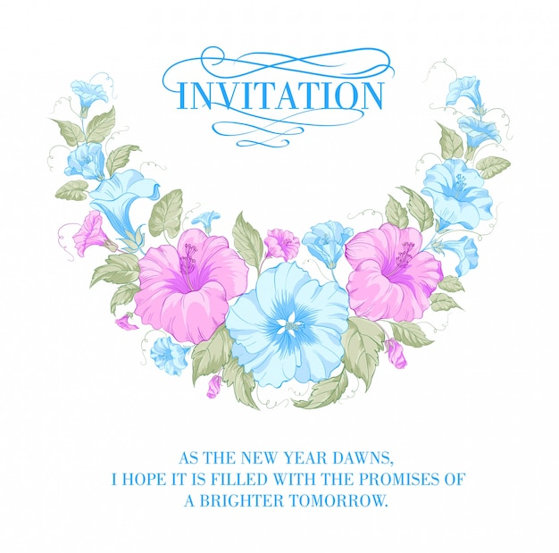 Convite com flores roxas e azuis