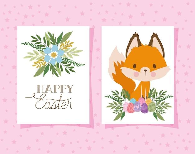 Convite com letras de feliz páscoa com uma raposa fofa e uma cesta cheia de ovos de páscoa em um design de ilustração de fundo rosa