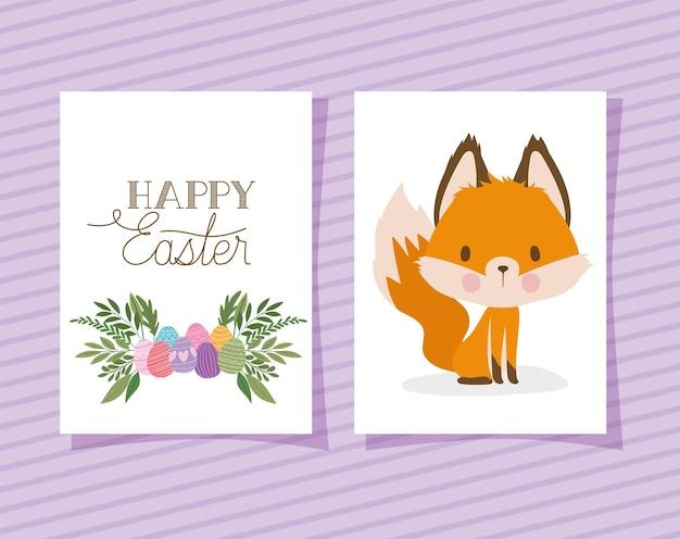 Convite com letras de feliz páscoa com uma raposa fofa e uma cesta cheia de ovos de páscoa em um design de ilustração de fundo roxo