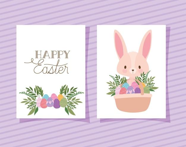 Convite com letras de feliz páscoa, um coelhinho rosa fofo e uma cesta cheia de desenhos de ilustração de ovos de páscoa