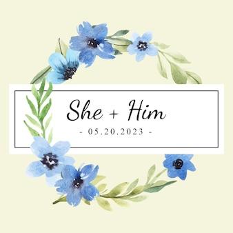 Convite com moldura floral azul aquarela