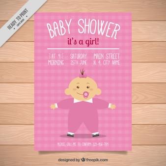 Convite cor de rosa festa do bebé com um bebé
