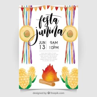 Convite da aguarela do junina de festa