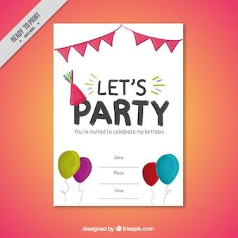 Convite da festa de aniversário bonito