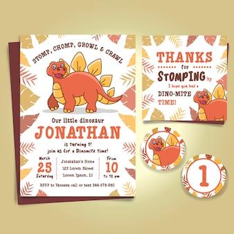 Convite da festa de anos do dinossauro do stegosaurus