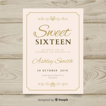 Convite da festa de anos do doce dezesseis