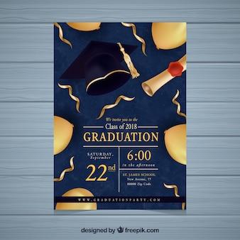 Convite da festa de formatura com elementos dourados