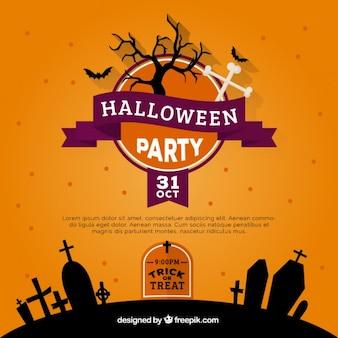 Convite da festa de halloween laranja