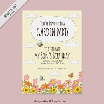 Convite da festa de jardim com flores desenhadas mão