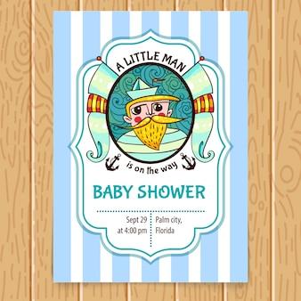 Convite da festa do bebé com capitão do mar.