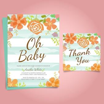 Convite da festa do bebé com frame floral