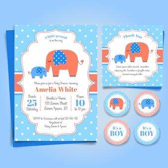 Convite da festa do bebé do elefante, festa de anos