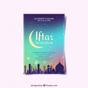 Convite da festa iftar com céu gradiente