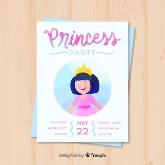 Convite da princesa do aniversário da aguarela