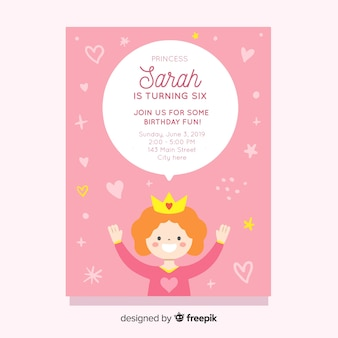 Convite da princesa do aniversário da bolha do discurso