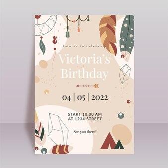 Convite de aniversário boho