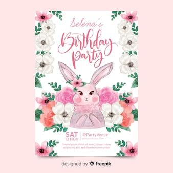 Convite de aniversário bonito com coelho