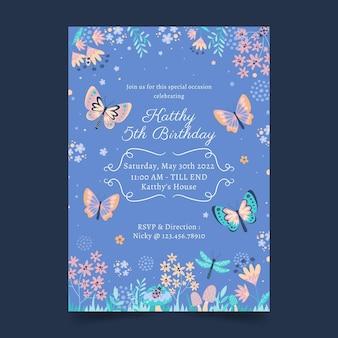 Convite de aniversário borboleta