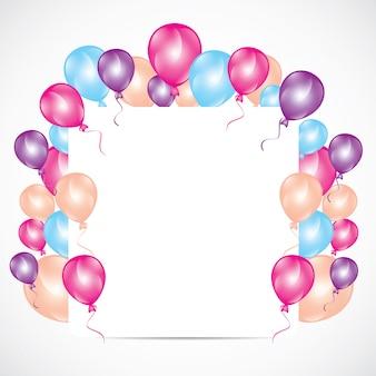 Convite de aniversário colorido com balões