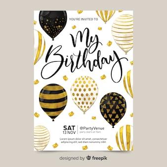 Convite de aniversário com balões