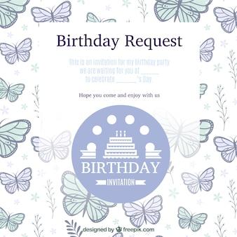 Convite de aniversário com borboletas