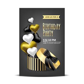 Convite de aniversário com caixas de embalagem