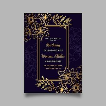 Convite de aniversário com detalhes dourados gradientes