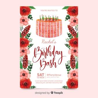 Convite de aniversário com flores em aquarela