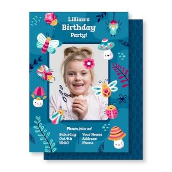 Convite de aniversário com foto de menina