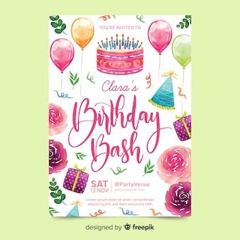 Convite de aniversário com letras