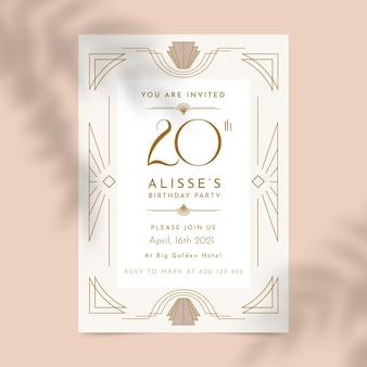 Convite de aniversário com tema geométrico elegante dos anos 20