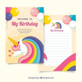 Convite de aniversário com unicórnios e balões